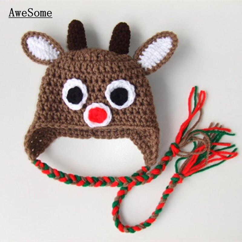Handmade Crochet Baby Girl Boy Twin Reindeer Hats With Braids