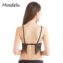 Mosdelu Strappy Lace Bralette Crop Top Sexy Sheer Bralette Push Up Mesh Bras For Women Bralette encaje Lingerie Lace Bra Tops