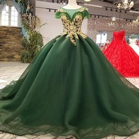 Dark Green Wedding Dresses 2018 Beaded Gold Lace Tulle Lace Up Princess Elegant Formal Gowns Plus Size Women Bridal Dress