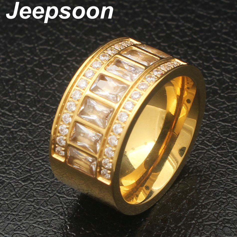 Newest Fashion Round Pattern Rings Gold Color Wholesale Stainless Steel Jewelry For Wome Rn Gift Top Quality RBJJBGCI