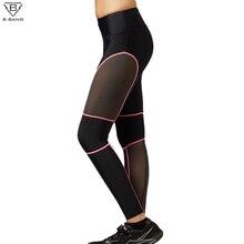 B.BANG New Fitness Women Running Pants Ladies Slim Legging Quick Dry Sports Mesh Tights for Gym Running
