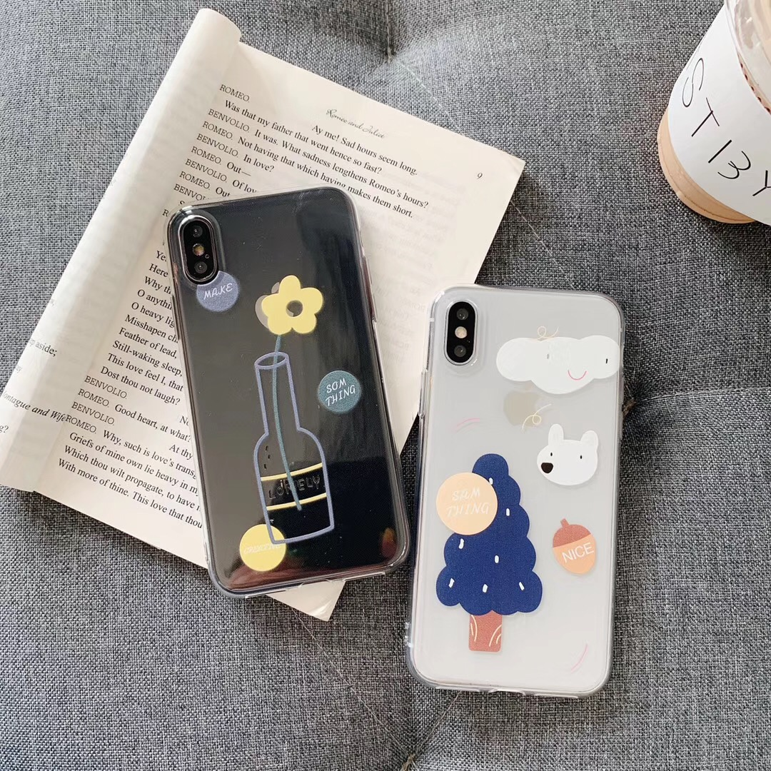 INS Korea super fire net red vase animal cloud tree phone case For iphone Xs MAX XR X 6 6s 7 8 plus cute clear soft TPU Cover