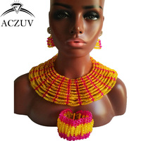 ACZUV Brand Hot Pink and Yellow Jewelry Set for Women African Wedding Crystal Beads Necklace ad Earrings AS009