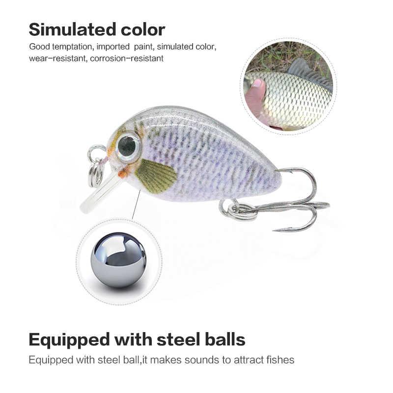 2.8 سنتيمتر كرانكبيت صغير الصيد إغراء 1.5 جرام الواقعية وهمية الأسماك العائمة الصيد السحر المتذبذب معالجة pesca 15 اللون