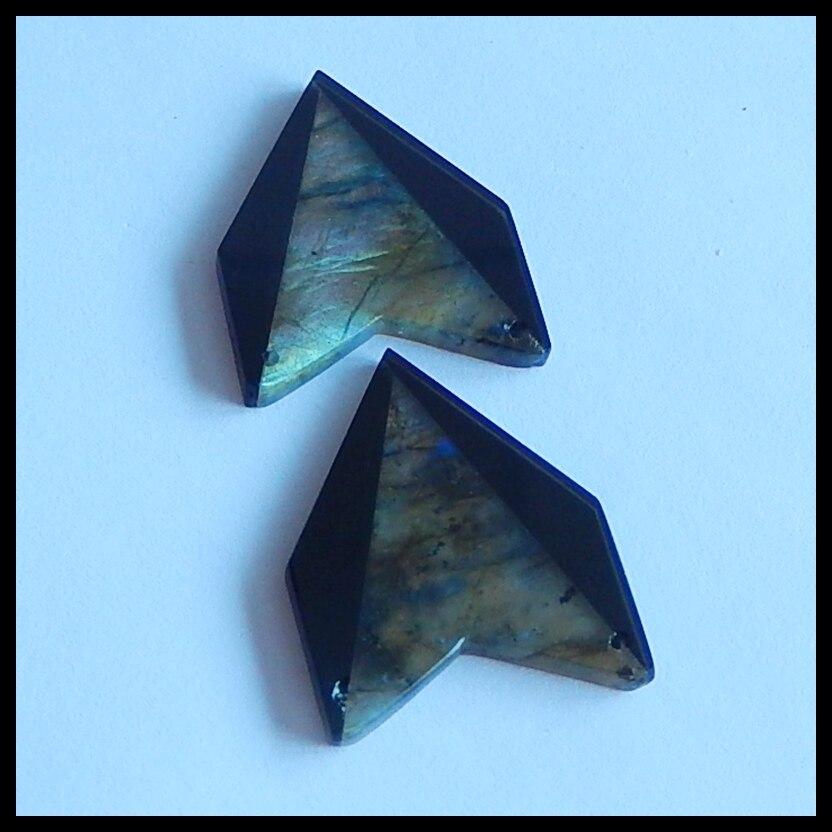 Wholesale obsidian with Labradorite fashion woman Earrings,Charms Women Earrings Jewelry Gift Gem Customized,26x22x3mm,5.1g
