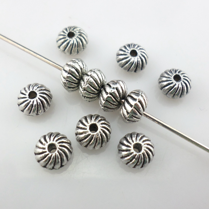 100pcs Tibet Silver Loose Spacer Beads Charms Jewelry Making Findings DIY BeadsL
