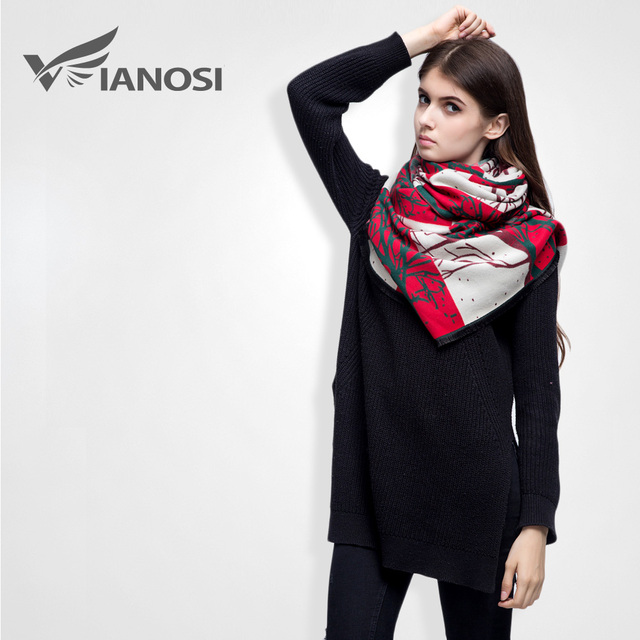 [VIANOSI] New Brand Designer Scarfs Fashion Warm Winter Scarf Women High Quality Digital Printing Pashmina Shawl VS029