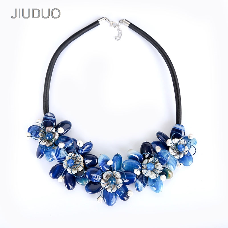 Deep Blue Flower Necklace For Women Natural Pearl Agate Necklaces Honor Shell Jewelry factory direct special package mail popular natural amber necklace for women luxury amber necklaces precious jewelry factory direct special package mail