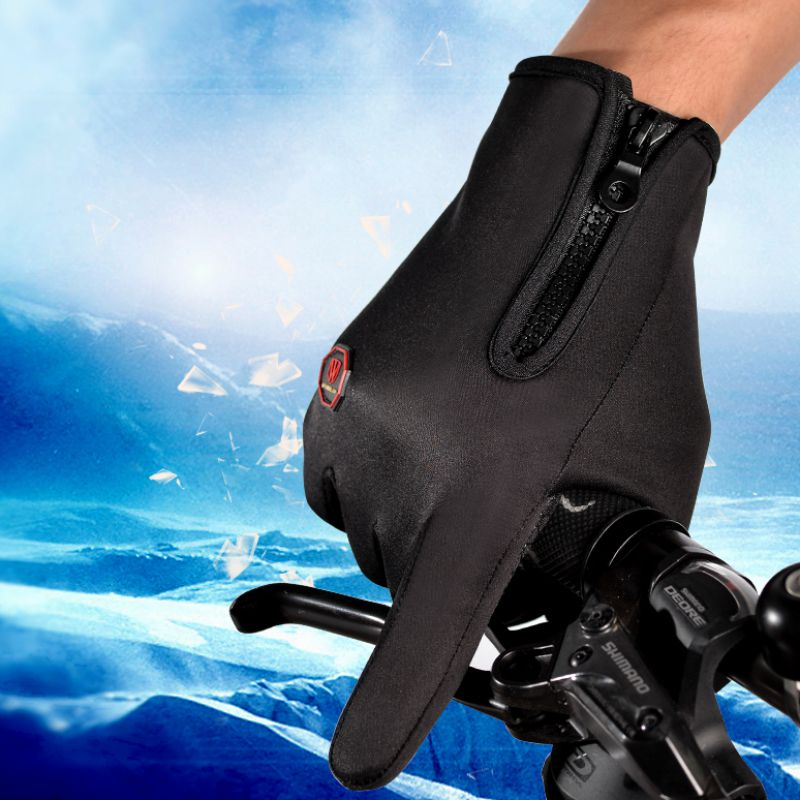 Outdoor Cycling Sports Thick Touch Screen Motorcycle Gloves Windproof Full Finger Ski Warm Riding Gloves Black Color New