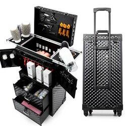Frauen Kosmetische fall, Roll Gepäck tasche, Nägel Make-Up Toolbox, Kommode Multi-schicht Schönheit Tattoo Trolley Koffer