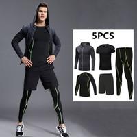 Men Sport Kit Compression Running Sets Jackets Basketball Football Tennis Fitness Gym Tights Shorts Shirts Pants Leggings 5PCS