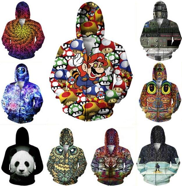 men women jacket print 3D coat owl/Super Mario/symbols birds butterflies trippy jacket Streetwear crewneck Harajuku sweatshirt