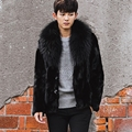 CR100 men's winter one fur coat real mink fur coats jackets with big genuine raccoon fur  collar