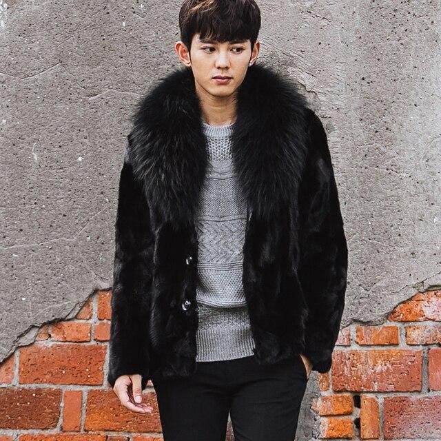 CR100 men's winter one fur coat real mink fur coats jackets with big genuine raccoon fur  collar