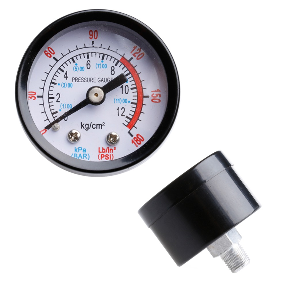 1pc 0-180PSI 0-12Bar Air Compressor Pneumatic Hydraulic Fluid Pressure Gauge Dial 1pc air compressor pressure switch valve 180pis 12bar adjustable air regulator valves with gauge
