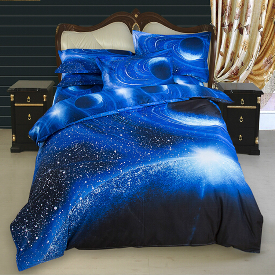 3d galaxy bedding sets twin queen size universe outer for Outer space bedding