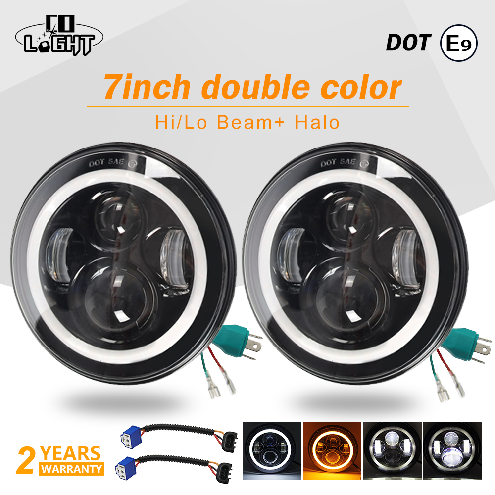 CO LIGHT 1 Pair 7 inch Led Headlights 50W 30W H4 for Headlight Niva DRL for Lada Jeep Toyota 4X4 Off Road Parking Driving Lights 1 pair 7 inch rectangular led headlight