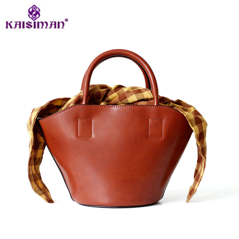 2018 Popular Genuine Leather Handbags Fashion Women Tote Bags Cow Skin Bucket Bag Cow Leather Shoulder Bag Lady Shopping Bag Sac new designer woman oil wax genuine leather bag cowhide fashion day clutches long purse female ladies handbag for men famous bags