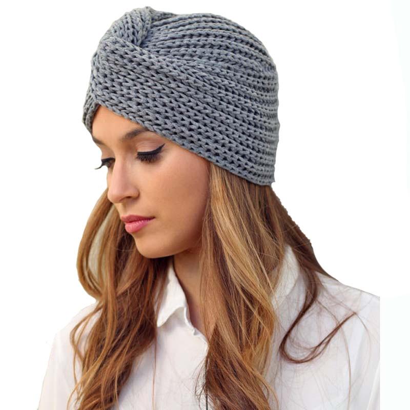 Knit Turban Cross Women's Winter Warm Knit Turban Cross Twist Arab Hair Wrap Solid Casual   Skullies   &   Beanies   Hat Cap