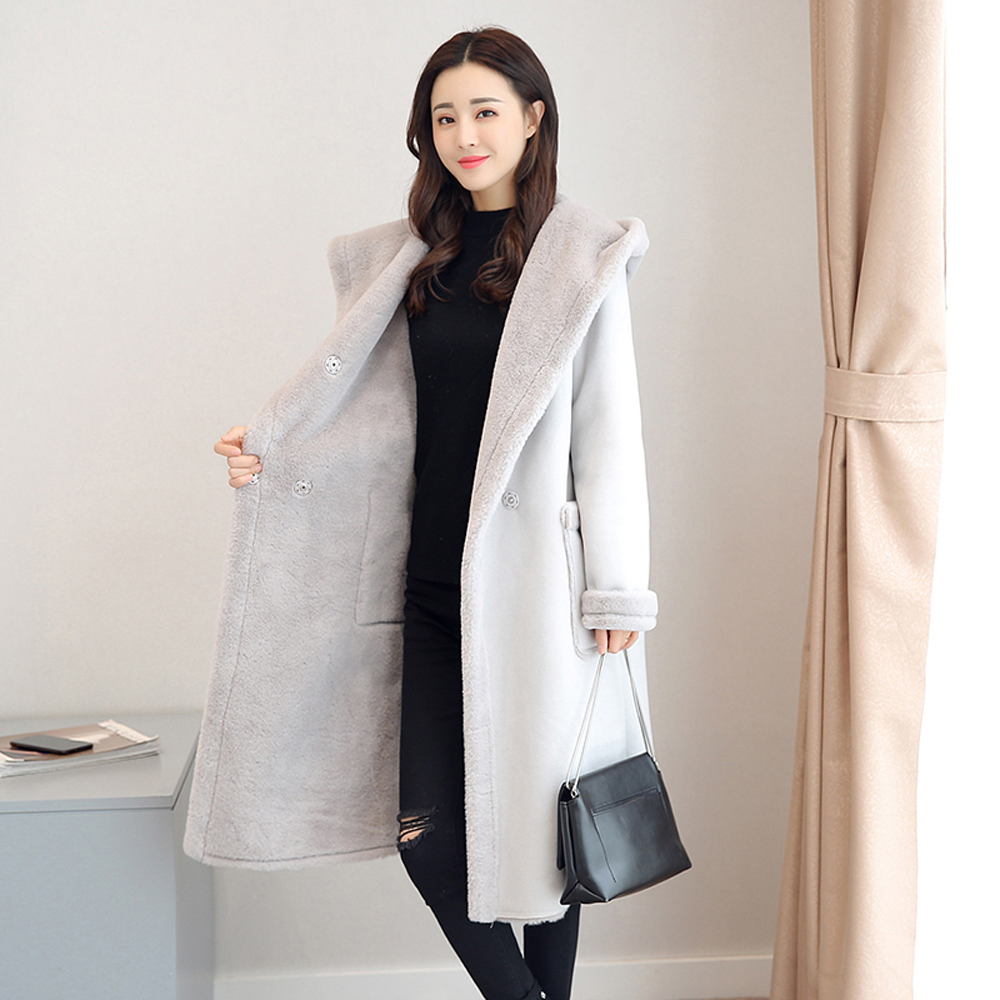 Winter Faux Fur Suede Sheared Lamb Wool Coat for Women White Warm Jacket Long Plus Size Oversized Hoodies Cashmere 2020 Clothing