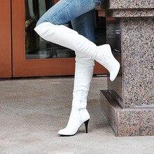 แฟชั่นส้นสูงส้นเท้าบางเข่าสูงลำลองหนังสิทธิบัตรชี้เท้าชุดเซ็กซี่ผู้หญิงบู๊ทส์ร้อนขายขนาด34-47/4-16 B009