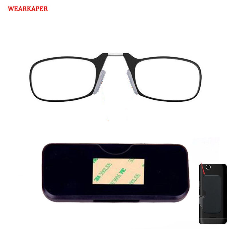 ccd13a90569c9 WEARKAPER New Pince Nez Style Nose Resting Pinching Portable Thin Frame  Optics Reading Glasses No Arm Old Men Women ...