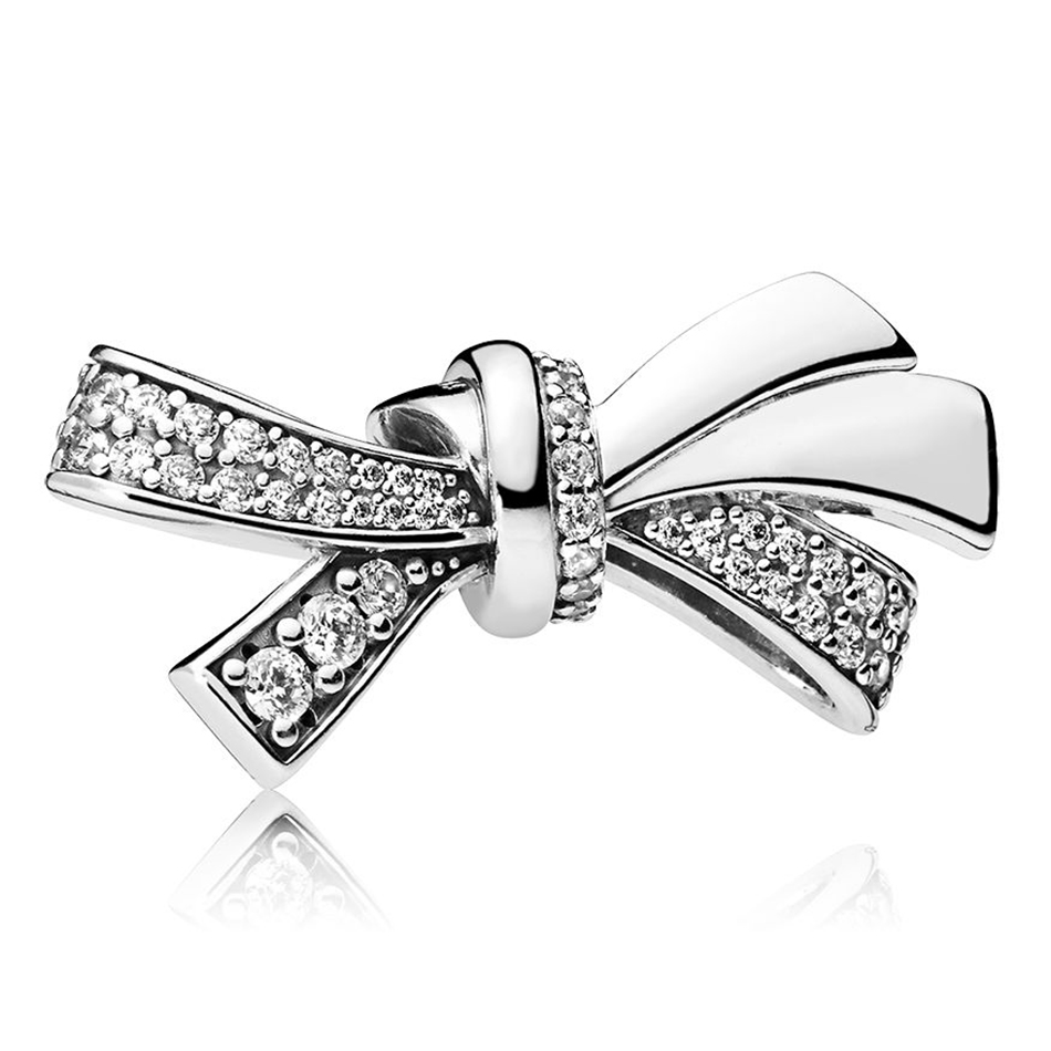 Authentic 925 Sterling Silver Brilliant Bow With Crystal Bead Charm Fit Pandora Bracelet Bangle For Women DIY Jewelry Making