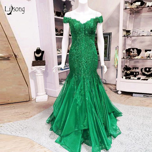 1e2f444048f Saudi Arabic Green Beaded Mermaid Prom Dresses Luxury Lace Long Evening  Gowns Plis Size Party Dress Robe De Soiree Longue 2018