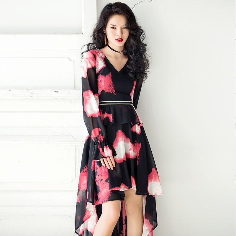 VERRAGEE Brand 2018 New Autumn Vintage V collared chiffon Maxi Women puff sleeve high waist asymmetrical Long Dress
