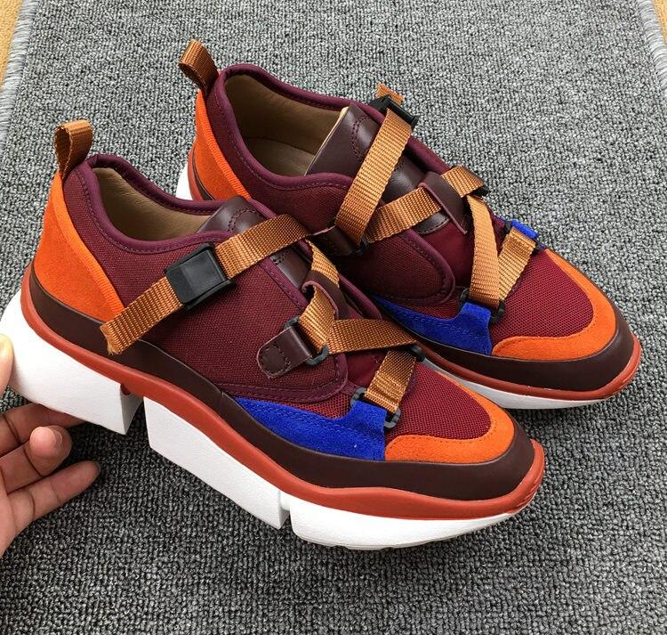 Vrouwen nieuwe lederen singels spons taart dikke zolen kleur bijpassende casual schoenen outdoor trend sport schoenen-in Platte damesschoenen van Schoenen op  Groep 2