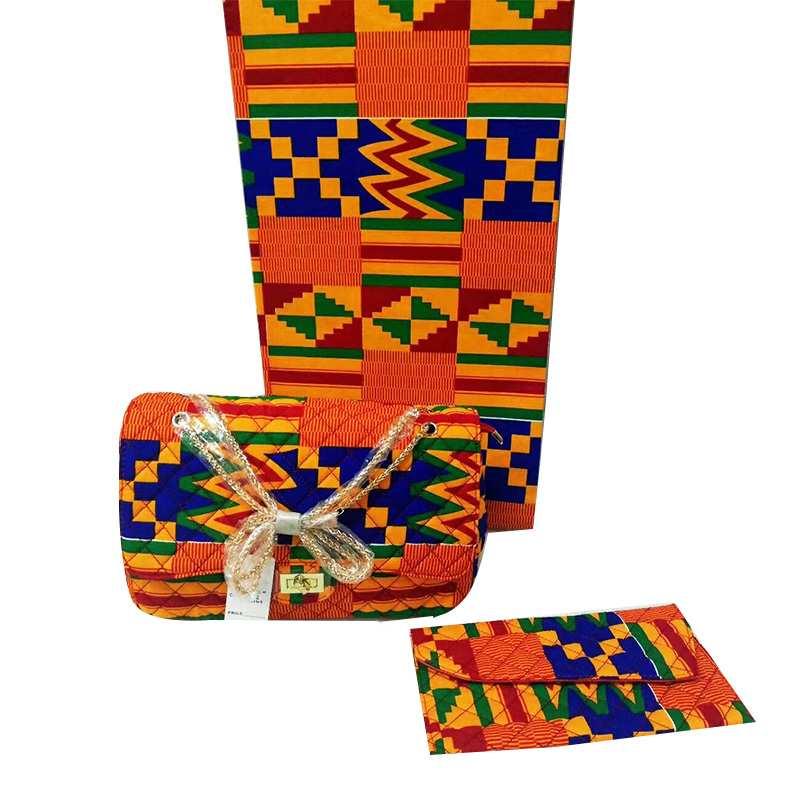 Mille Moda Africana cera bolsa conjuntos 3 unids/set ankara cera bolso a juego 6 yardas real mejor suave nueva tela de cera-in Tela from Hogar y Mascotas    1