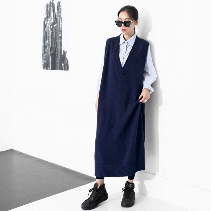 Mujeres Largo Mujer 3 Tejido Aa4261 1 2018 Suéter Señoras Vestidos Cálido Estilo 2 Invierno Vestido Mangas Sin Coreano qwBWXIg