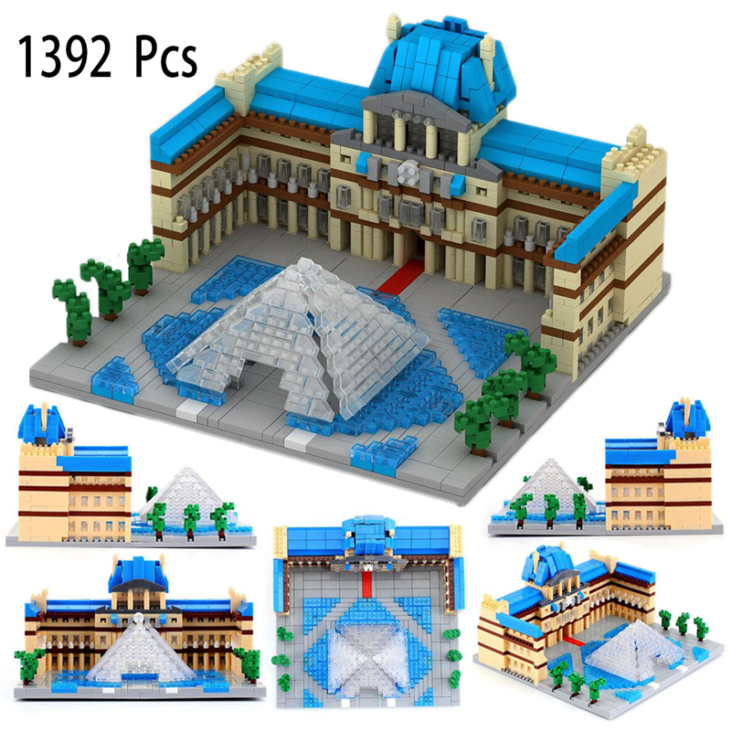 Louvre Museum 1392pcs Small Building Blocks Classic Architecture Model for Children Gift Plastic Bricks Construction Toys movado museum classic 0606997