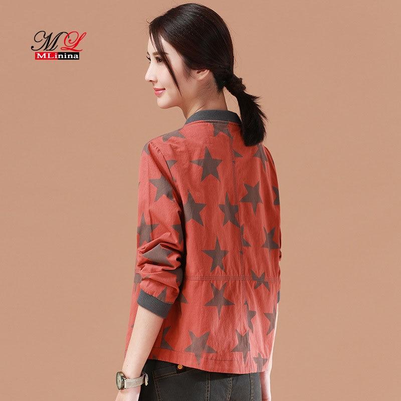 MLinina Jackets Women 2018 New Autumn Winter Basic Jacket Fashion Star Printing Windbreaker Outwear Female Baseball Women Coat