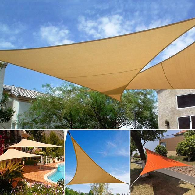Triangle Polyester Sun Shade Sail Patio Garden Waterproof Canopy Outdoor Shelter 3m x 3m x3m : canopy shade sail - afamca.org