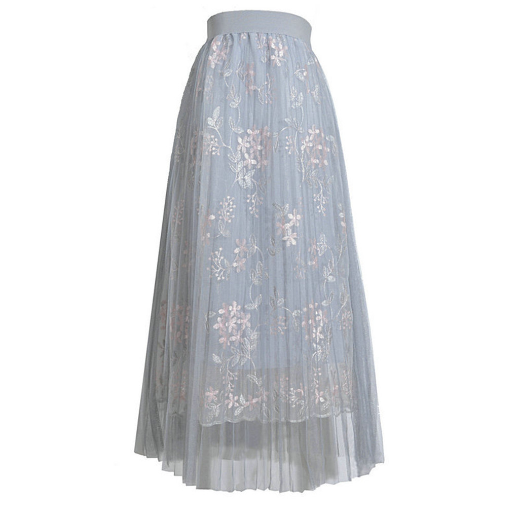 Womail modis vintage Women Girls Big Swing Tulle Pleated Long Tutu High Waist Lace embroidered flower Net skirt 2020 Summer