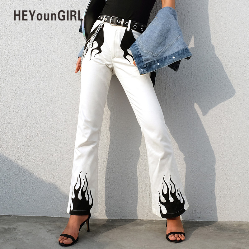 HEYounGIRL White Casual Wide Leg Pants Women Elegant High Waist Flared Trousers Fire Print Bell Bottom Pants Capris Streetwear