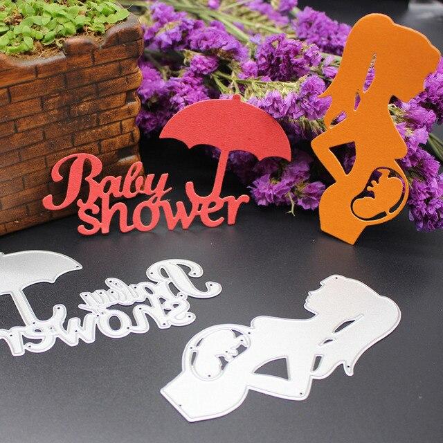 Pregnant Women Fetus Umbrella Pattern Template DIY Metal Cutting Dies Stencils Scrapbook Embossing Album Paper Card