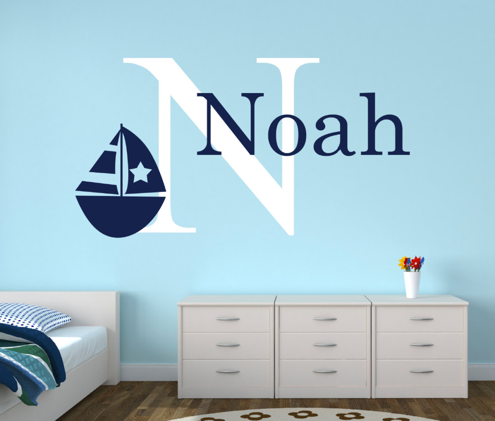 Personalized Name Nautical Baby Room Decor Wallpaper Wall Stickers- Anchor Wall Decal For Boys Bedroom- Nursery Decals Boat Art pure green mountain art wallpaper mural on the wall for kid s room wallpaper nursery room wall decor free shipping