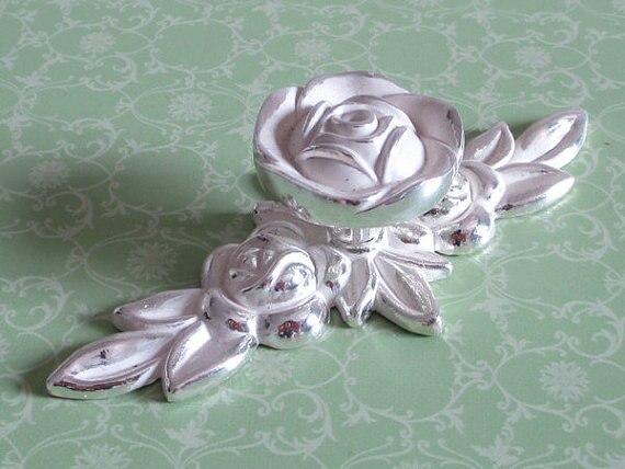 Shabby Chic Dresser Drawer Knobs Pulls Handles Silver White Rose Flower  Kitchen Cabinet Knobs Handles Pull
