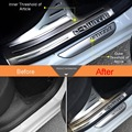 4 Pcs DIY Car Styling stainless steel Door inner/outer Threshold of Article sticker Cover Case Stickers For Citroen C4 2013-16