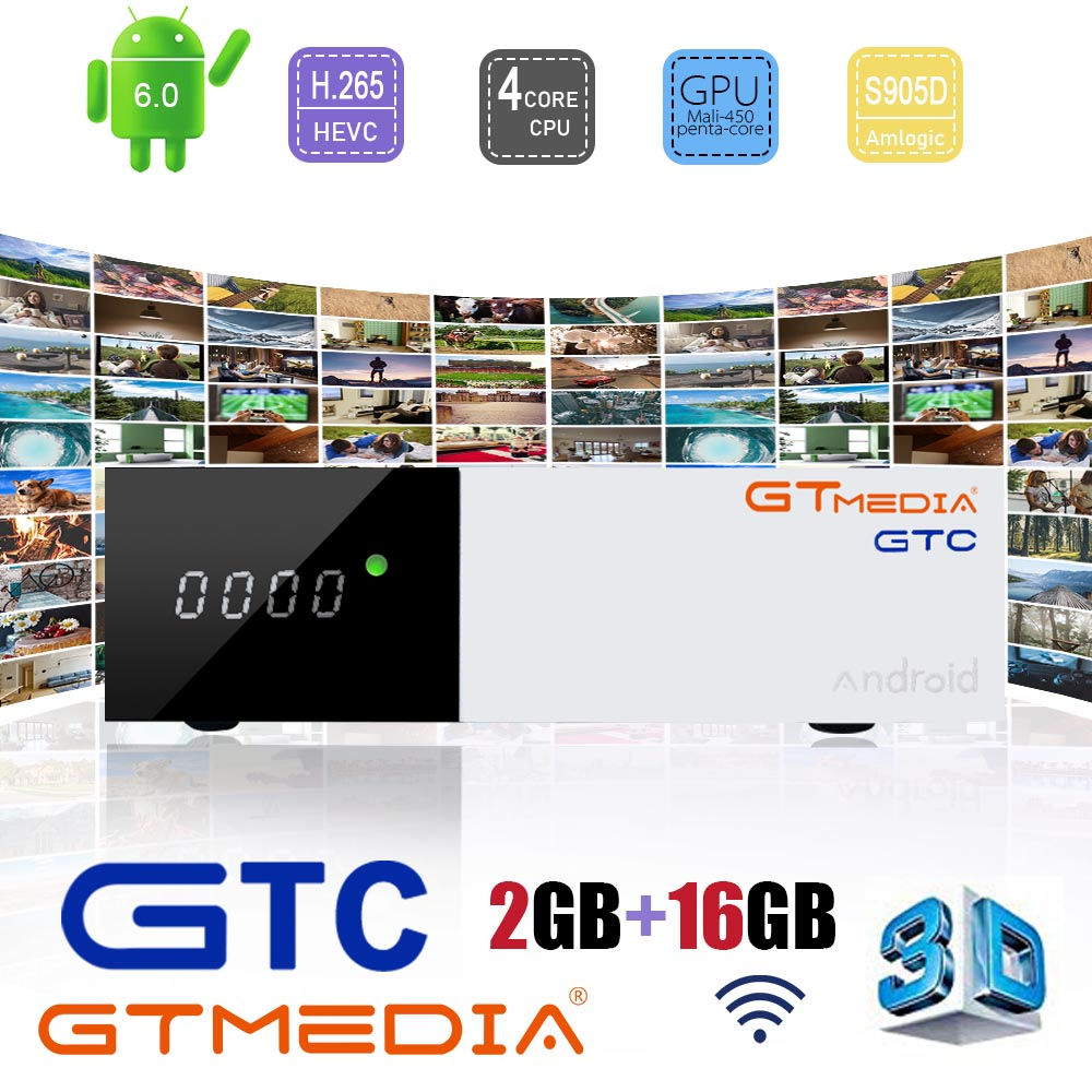 Image 1 - GTMEDIA GTC S905W Android 7.1 tv box media player 1GB RAM 8GB ROM set top box 4K*2K HD 2.4G Wifi smart tv box Satellite Receiver-in Satellite TV Receiver from Consumer Electronics