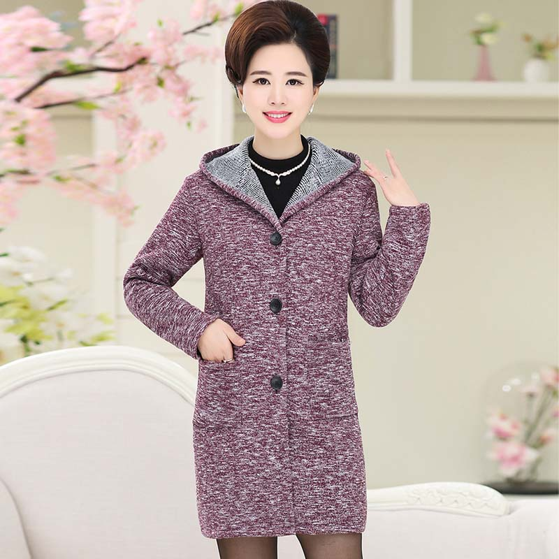 Middle-aged and old womens windbreaker hooded big cloth code abb code tweed coat PZ26554052-1726