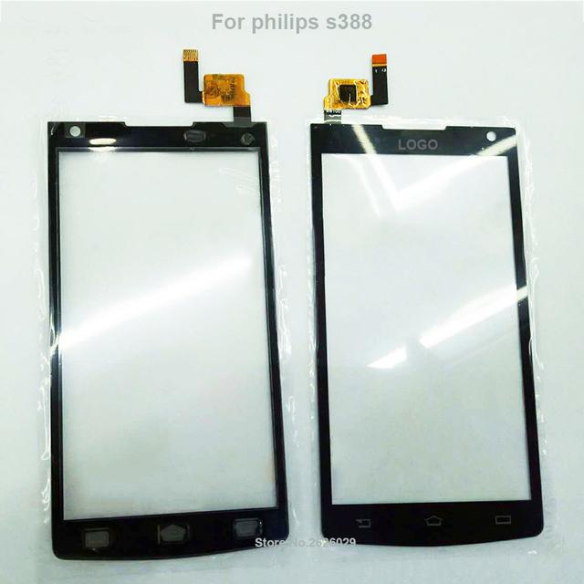 S388 panel outter pantalla táctil lente de cristal digitalizador panel de 4.5 pulgadas de pantalla de reemplazo para philips s388