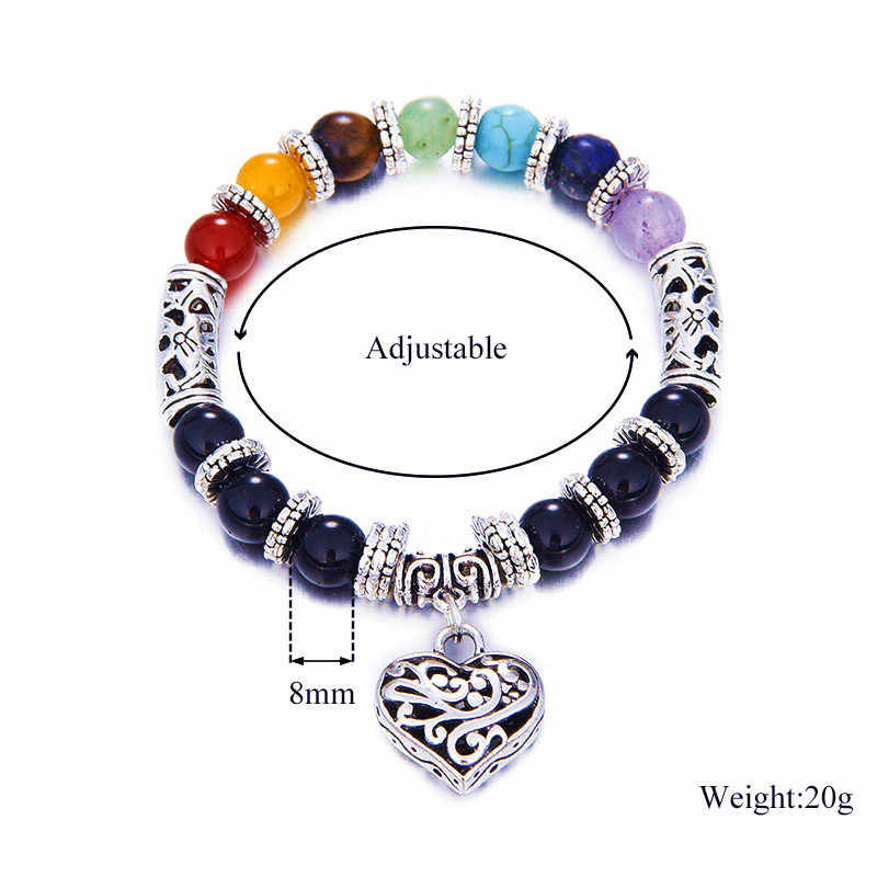 7 Chakra Bracelet guérison coeur bracelets porte-bonheur femmes hommes pierre naturelle Bracelet Reiki Yoga bijoux