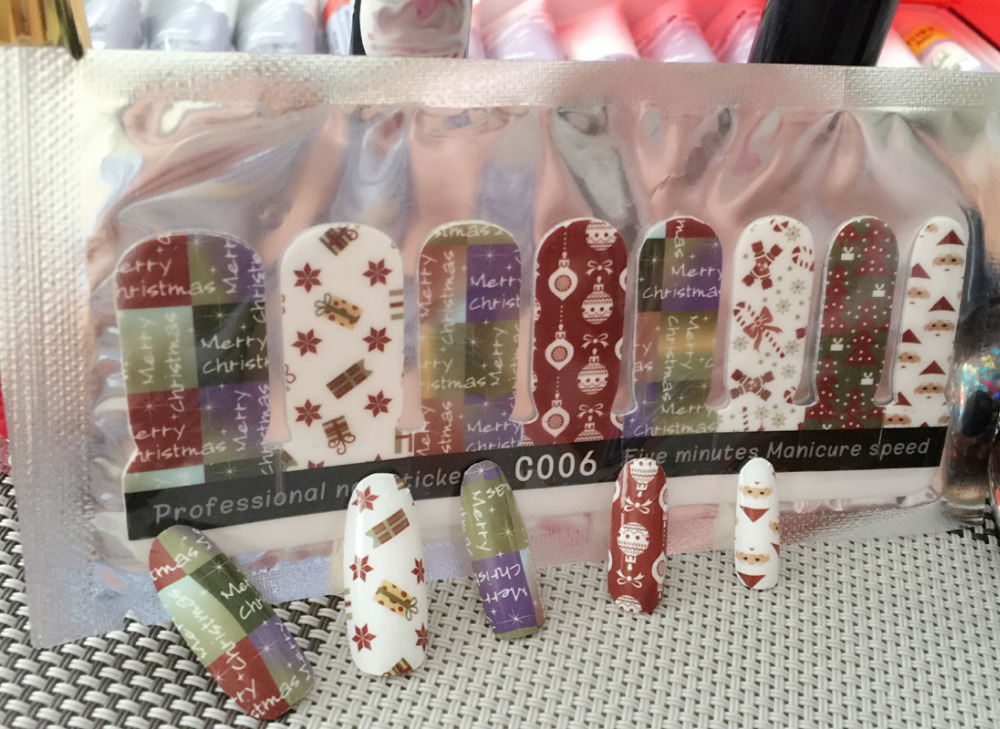 Us 1 99 2 Sheets Lot Merry Christmas Snowman Gift Boxes Crutch Adhesive Nail Art Stickers Speed Up Manicure Decals Diy Tip C006 In Rhinestones