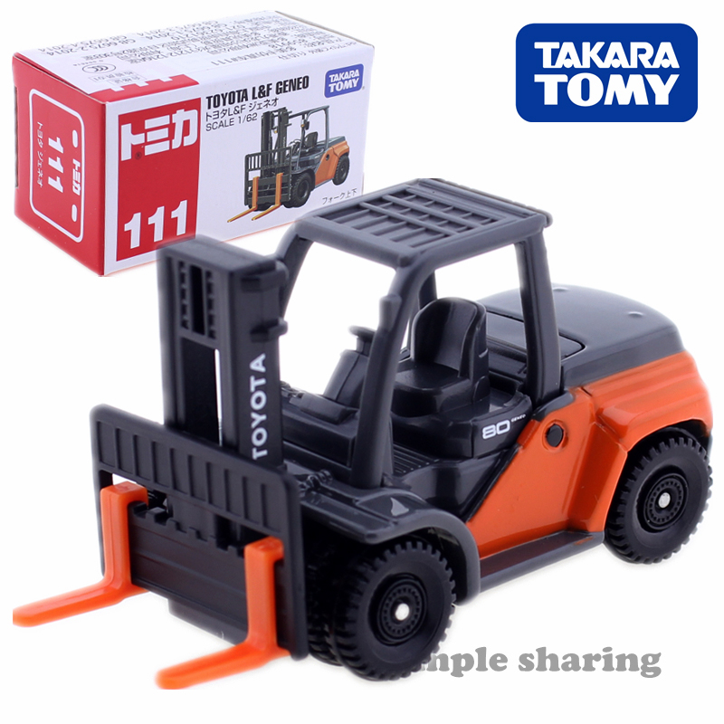 Takara Tomy Tomica No.111 TOYOTA L & F GENEO Forklift Model Kit 1:62 Diecast Toy Car Collectibles Funny Miniature Kids Bauble