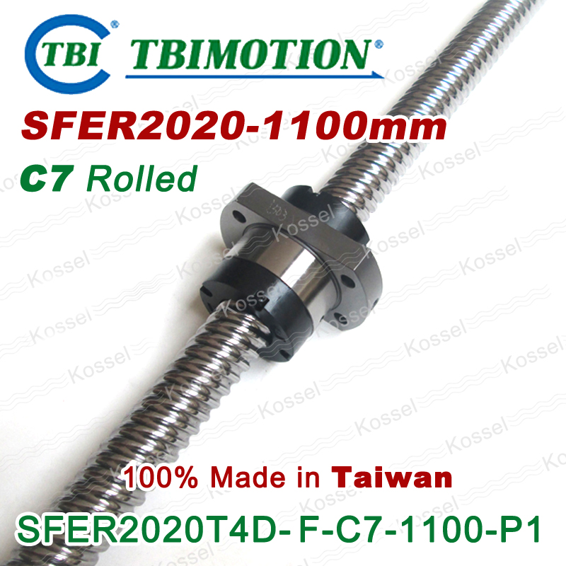 TBI ROLLED BallScrew 2020  SFE2020 length 1100mm 2 rows steel ball nut anti backlash ballscrew винт tbi sfkr 0802t3d