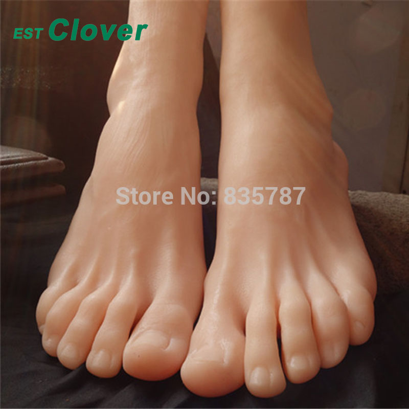 Height 19cm Size 43# Male Silicone Fake Foot,Inner-Bone Inside,Toe Move Freely,Feet Model,Shoe Model F-504 size 44 height 19cm male silicone fake foot inner bone inside toe move freely feet model shoe model f 501