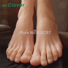 Height 19cm Size 43# Male Silicone Fake Foot,Inner-Bone Inside,Toe Move Freely,Feet Model,Shoe Model F-504